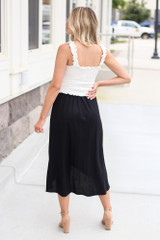 Wrap Midi Skirt in Black Back View
