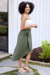 Wrap Midi Skirt in Olive Side View