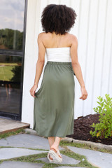 Wrap Midi Skirt in Olive Back View