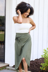Olive - cute wrap midi skirt at dress up