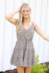 Mocha - Spotted Tiered Dress