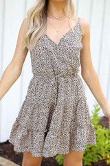 Close Up of the Spotted Tiered Dress in Mocha