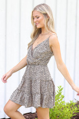 Spotted Tiered Dress in Mocha Side View