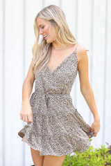 Model wearing the Spotted Tiered Dress in Mocha