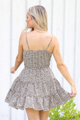 Spotted Tiered Dress in Mocha Back View
