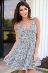 Spotted Tiered Dress in White Front View