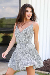 Spotted Tiered Dress in White Side View