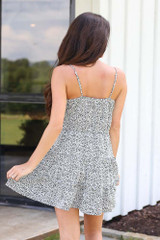 Spotted Tiered Dress in White Back View