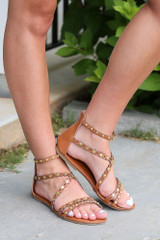 Model wearing the Studded Sandals