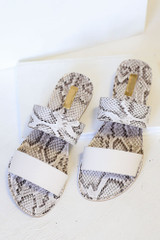 Flat Lay of the Snakeskin Sandals