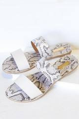 Close Up of the Snakeskin Sandals