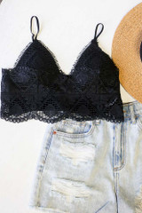 Black - Flat Lay of the Crochet Lace Bralette