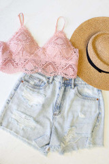Flat Lay of the Crochet Lace Bralette in Blush