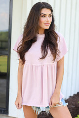 Blush - Model wearing a Babydoll Top
