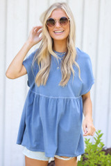 Babydoll Top in Denim Front View
