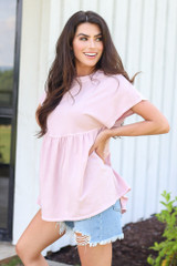 Babydoll Top in Blush Side View