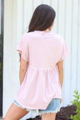 Babydoll Top in Blush Back View