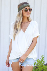Surplice Top in White Front View