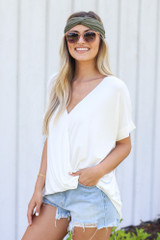 Surplice Top in White Side View
