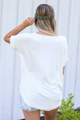 Surplice Top in White Back View