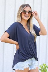 Surplice Top in Navy Side View