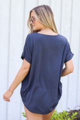 Surplice Top in Navy Back View