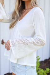 White - Waffle Knit Babydoll Top from Dress Up