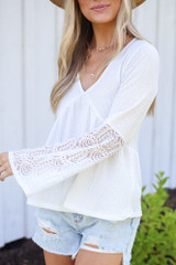 Close Up of the Waffle Knit Babydoll Top