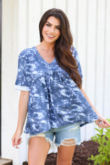 Model wearing the Tie-Dye Babydoll Top