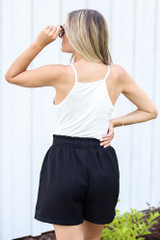 Paperbag Waist Shorts in Black Back View