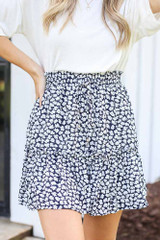 Navy - Close Up of the Tiered Floral Skirt