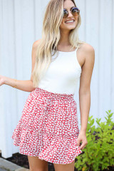 Red - Dress Up model wearing the Tiered Floral Skirt