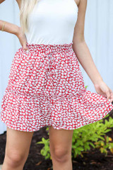 Red - Model wearing the Tiered Floral Skirt with a white tank