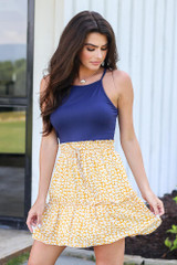 Tiered Floral Skirt in Mustard Front View