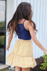 Tiered Floral Skirt in Mustard Side View