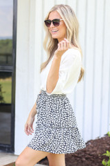 Tiered Floral Skirt in Navy Side View