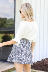 Tiered Floral Skirt in Navy Back View