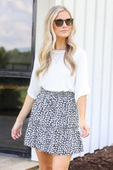 Tiered Floral Skirt in Navy Front View