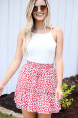 Tiered Floral Skirt in Red Front View