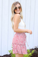 Tiered Floral Skirt in Red Side View