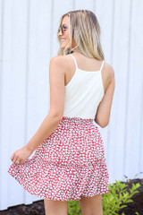 Tiered Floral Skirt in Red Back View