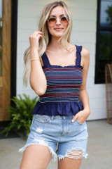 Navy - Smocked Peplum Crop Top