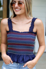 Navy - Smocked Peplum Crop Top from Dress Up