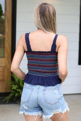 Smocked Peplum Crop Top Back View