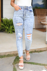 Close Up of the Acid Wash Distressed Skinny Jeans