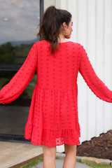 Swiss Dot Babydoll Dress in Red Back View