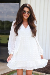 Swiss Dot Babydoll Dress in White Front View