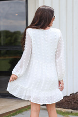 Swiss Dot Babydoll Dress in White Back View