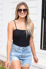 Black - Ribbed Knit Bodysuit from Dress Up
