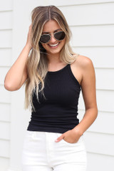 Black - Ribbed Knit Tank from Dress Up
